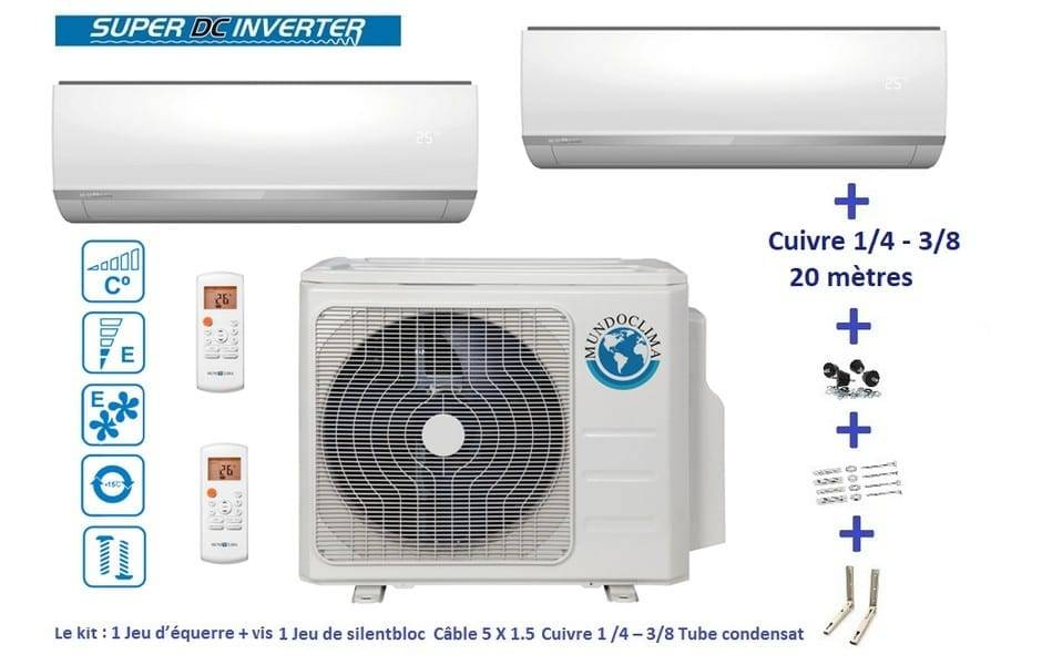 Aire acondicionado inverter Mundo Clima BI Split 2X1 Inverter 2500 KW